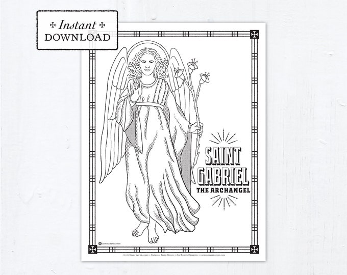 Catholic Coloring Page, Saint Gabriel the Archangel Coloring Page, Catholic Saints, Printable Coloring Page, Digital Coloring Page, PDF