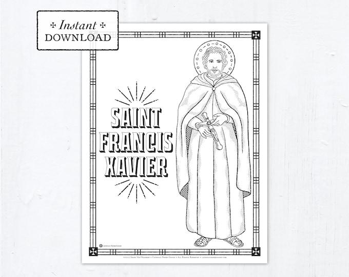 Catholic Coloring Page - Saint Francis Xavier - Catholic Saints - Printable Coloring Page - Digital - PDF