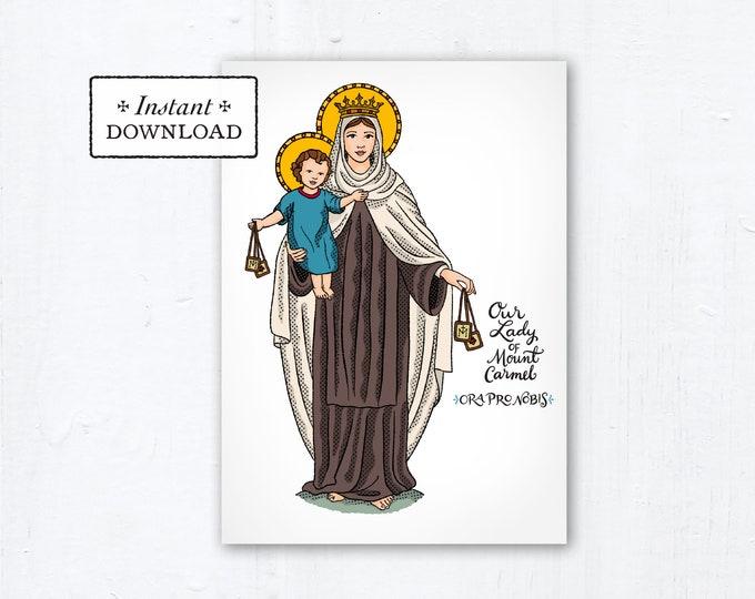 "Our Lady of Mount Carmel Card - Art Print - Instant Download - DIY Downloadable PDF 5""x7"" - Saint Card Saint Art Print Confirmation Gift"