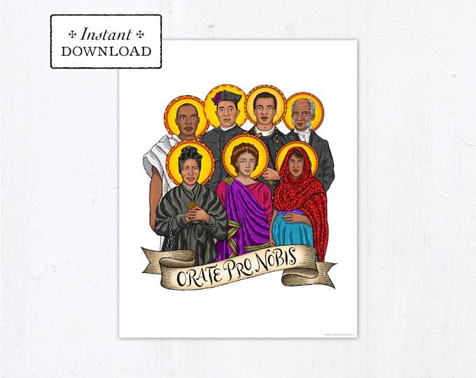 """Saints of Color Frameable Art Print Saint Poster, Instant Download, Downloadable PDF 8""""x10"""" Saint Squad Josephine Bakhita Martin de Porres"""