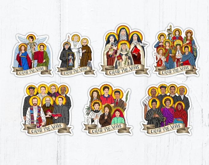 Saint Squads, Saint Groups 3 inch AND 4 Inch Die Cut Vinyl Stickers Peel & Stick Catholic Vinyl Stickers Waterproof Decals Saint Stickers