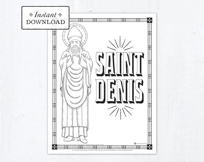 Catholic Coloring Page, Saint Denis Coloring Page, Catholic Saints, Printable Coloring Page, Digital Coloring Page, PDF