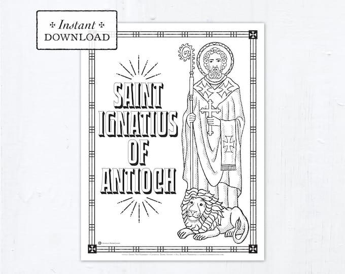 Catholic Coloring Page, Saint Ignatius of Antioch Coloring Page, Catholic Saints, Printable Coloring Page, Digital Coloring Page, PDF