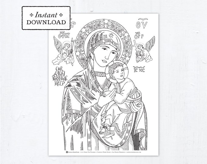 Catholic Coloring Page - Our Lady of Perpetual Help - Catholic Saints - Printable Coloring Page - Digital - PDF Virgin Mary Download Large