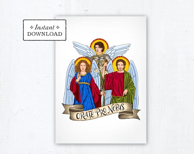 Archangels 5x7 Card Art Print, Instant Download, Downloadable PDF Saint Squad St Michael St Gabriel St Raphael