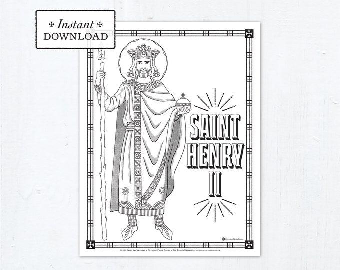 Catholic Coloring Page - Saint Henry II Coloring Page - Catholic Saints - Printable Coloring Page - Digital - PDF