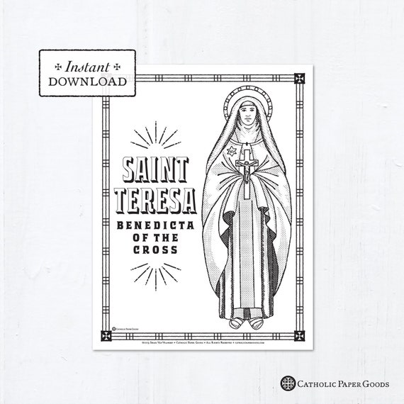 Catholic Coloring Page Saint Teresa Benedicta Of The Cross Etsy