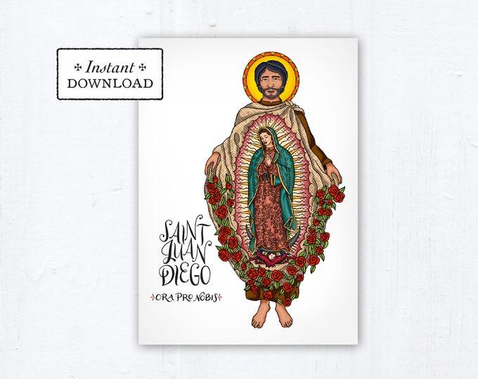 "St. Juan Diego Card - Art Print - Instant Download - DIY Downloadable PDF 5""x7"""