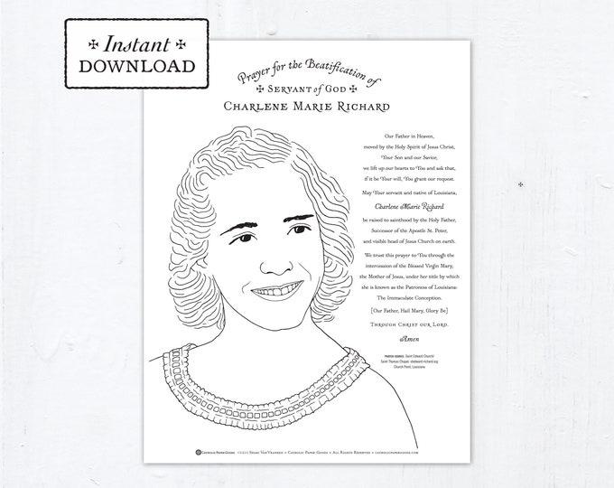 Catholic Coloring Page, Servant of God Charlene Marie Richard, Catholic Saints, Printable Coloring Page, Digital, PDF