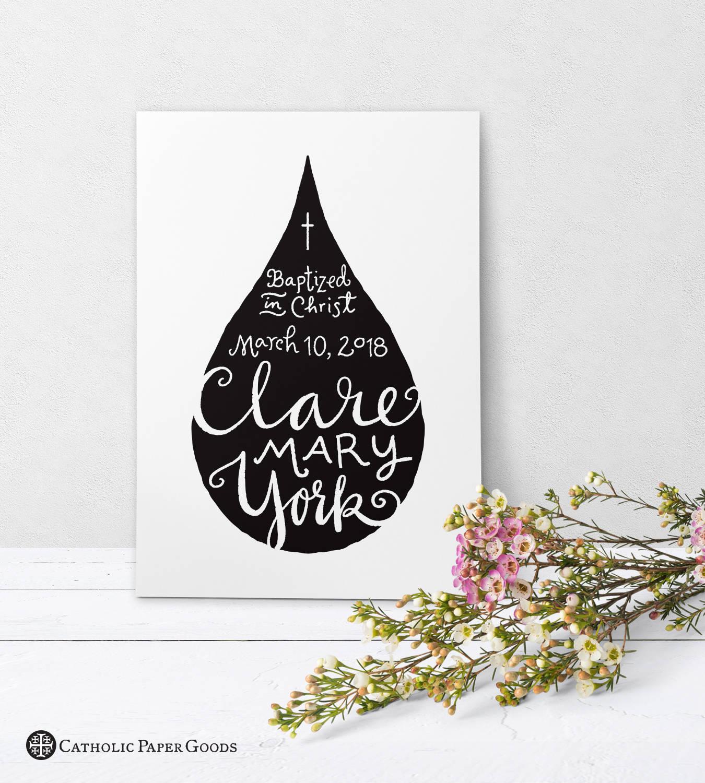 Catholic Baptism Personalized Greeting Card Black White Etsy