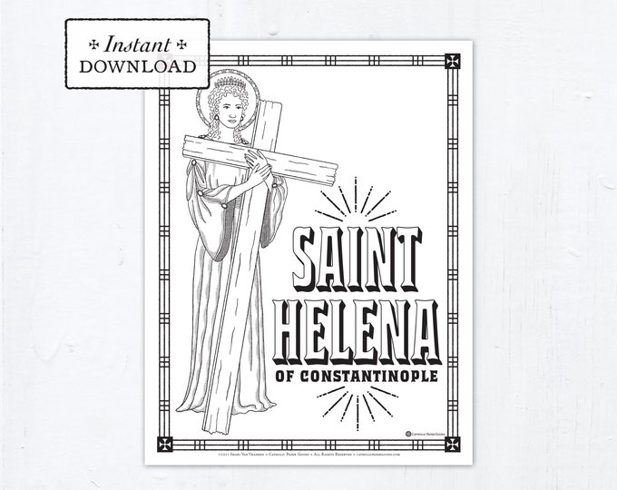 Catholic Coloring Page, Saint Helena of Constantinople Coloring Page, Catholic Saints, Printable Coloring Page, Digital Coloring Page, PDF