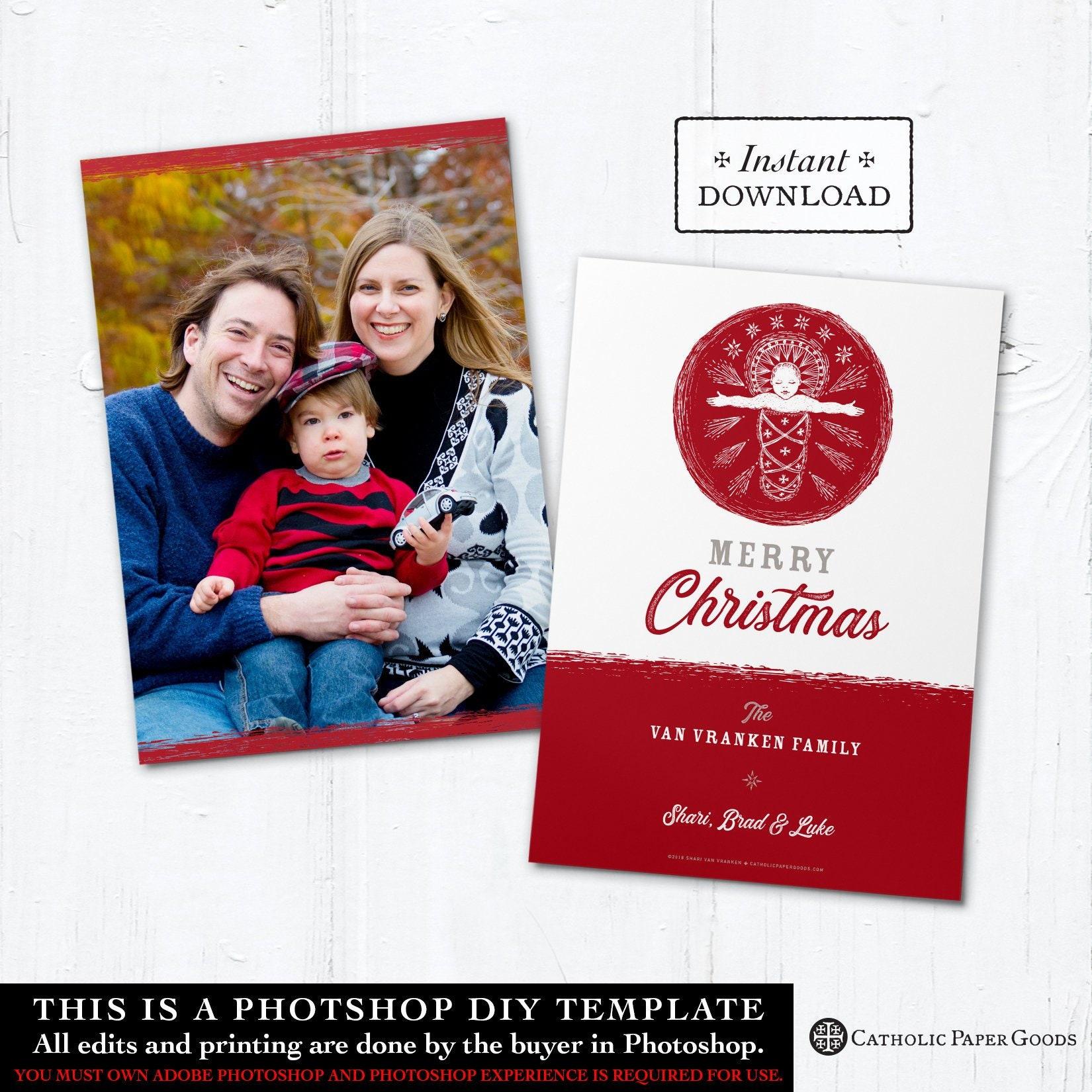 Catholic Christmas Card Digital Photoshop Christmas Photo Card
