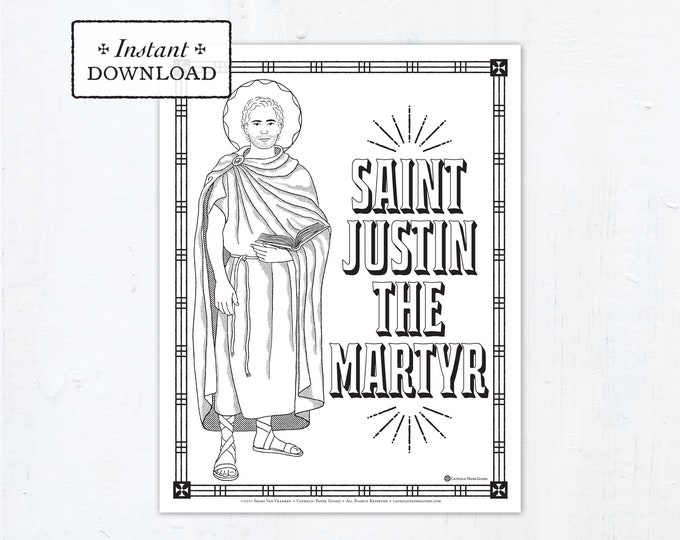 Catholic Coloring Page - Saint Justin Martyr - Catholic Saints - Printable Coloring Page - Digital - PDF