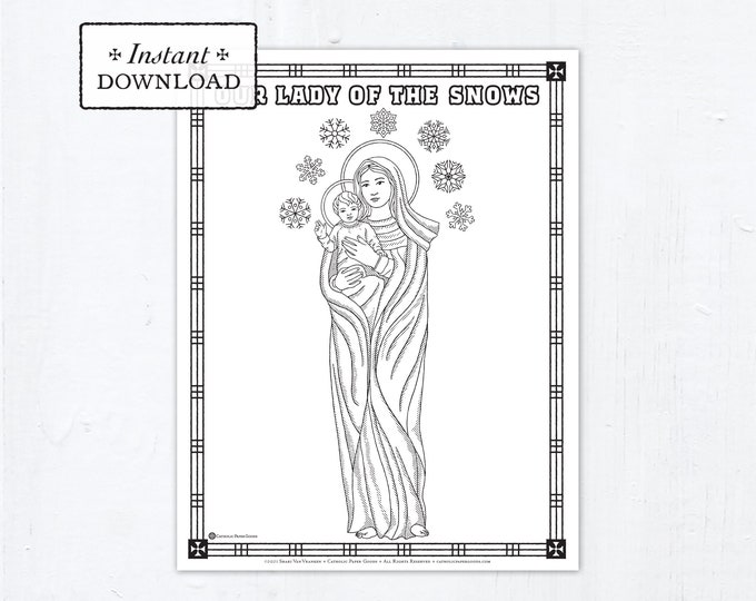 Catholic Coloring Page, Our Lady of the Snows, Catholic Marian Coloring Page, Printable Coloring Page, Digital Coloring Page, PDF