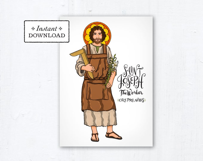 "St. Joseph the Worker Card - Art Print - Instant Download - DIY Downloadable PDF 5""x7"" Catholic Saint Printable Saint Art Confirmation Gift"
