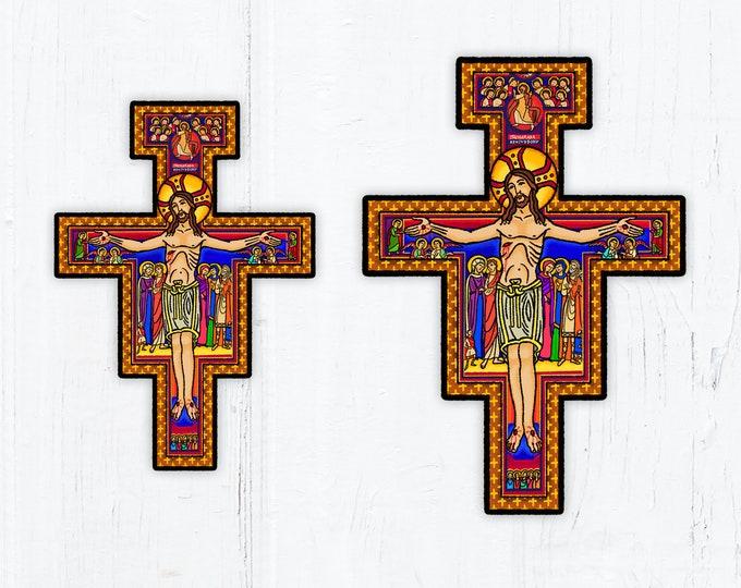 "San Damiano Cross Franciscan Cross Vinyl Sticker 3"" Vinyl and 3"" Holographic OR 4"" Vinyl Peel & Stick Weatherproof Dishwasher Safe"