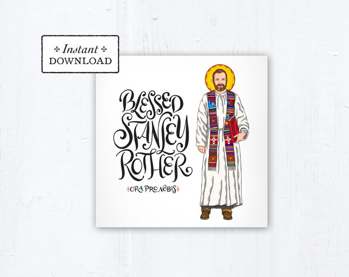 """Blessed Stanley Rother Square Prayer Card - Square - Instant Download - DIY Downloadable PDF 5.25""""x5.25"""" Prayer Card"""
