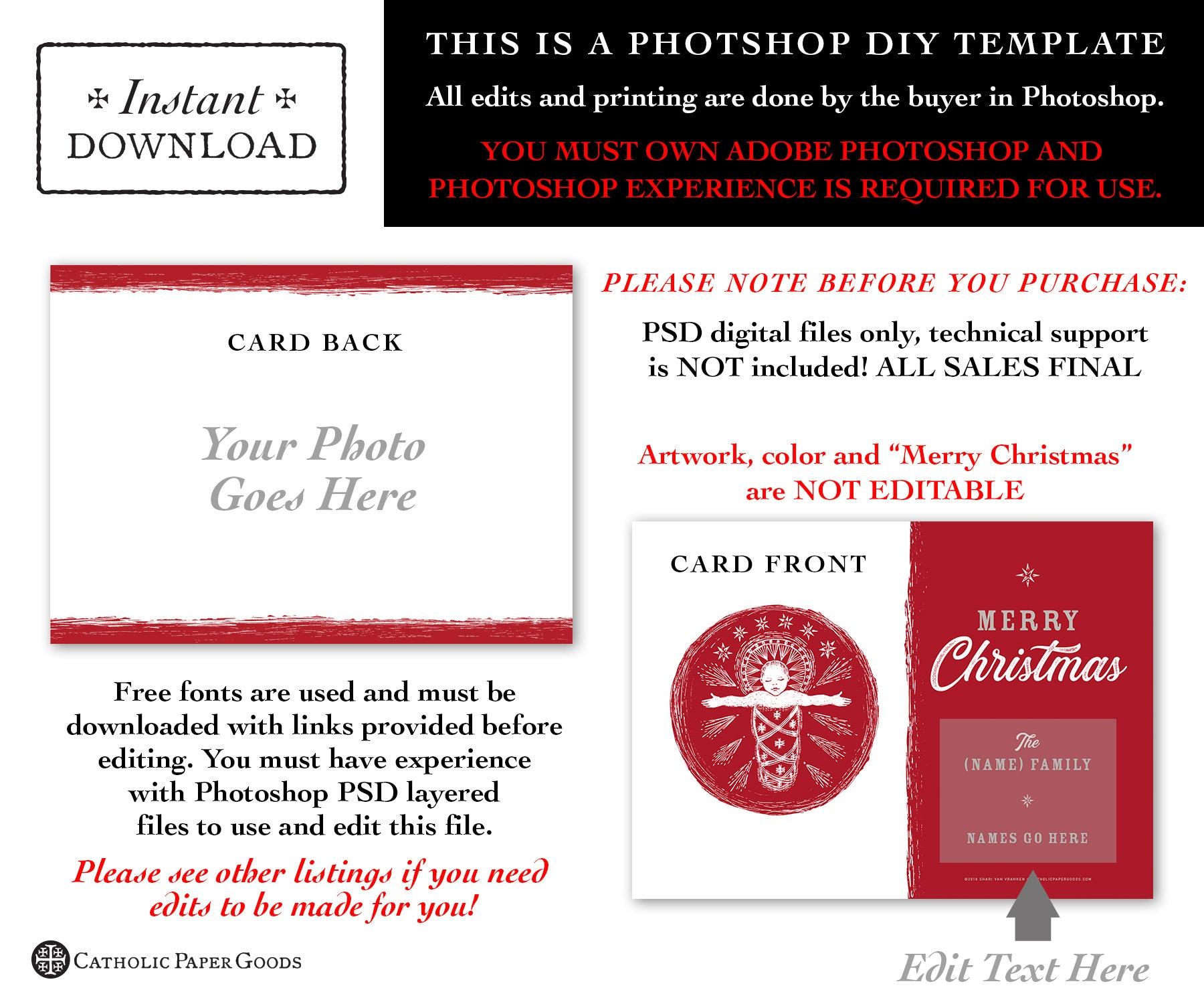 Catholic Christmas Card - Digital Photoshop Christmas Photo