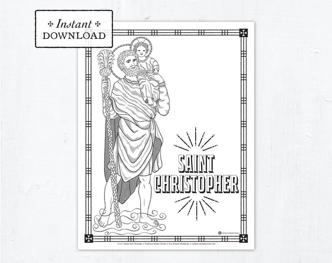Catholic Coloring Page, Saint Christopher Coloring Page, Catholic Saints, Printable Coloring Page, Digital Coloring Page, PDF