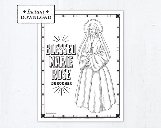 Catholic Coloring Page, Blessed Marie Rose Durocher Coloring Page, Catholic Saints, Printable Coloring Page, Digital Coloring Page, PDF