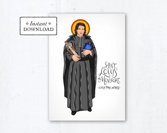 """Saint Louis de Montfort Card - Art Print - Instant Download - DIY Downloadable PDF 5""""x7"""" - Saint Card Saint Art Print Confirmation Gift"""