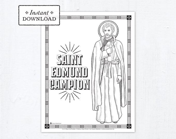 Catholic Coloring Page - Saint Edmund Campion - Catholic Saints - Printable Coloring Page - Digital - PDF