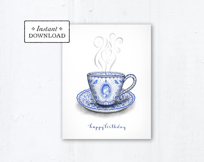 """Marian Teacup Birthday Card - Instant Download - Downloadable PDF 4.25""""x5.5"""" A2 - Catholic Printable Card Birthday Card Catholic Birthday"""