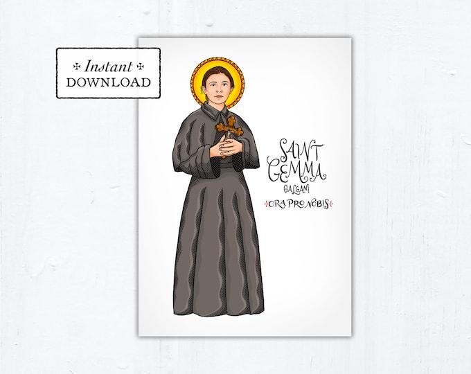 "St. Gemma Galgani Card - Art Print - Instant Download - DIY Downloadable PDF 5""x7"""