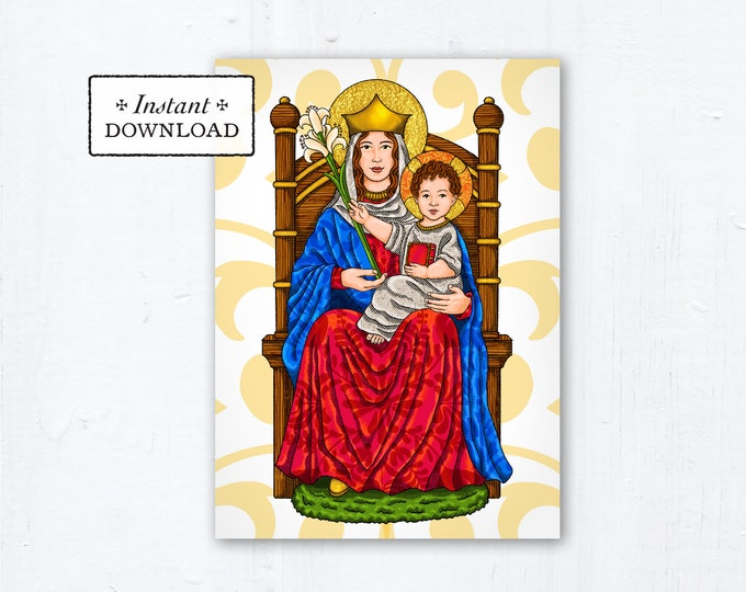 """Our Lady of Walsingham Prayer Card, Greeting Card, Art Print - Instant Download - DIY Downloadable PDF 5""""x7"""" Printable Marian Prayer Card"""