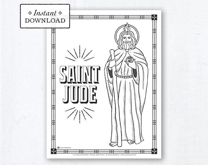 Catholic Coloring Page - Saint Jude - Catholic Saints - Printable Coloring Page - Digital - PDF