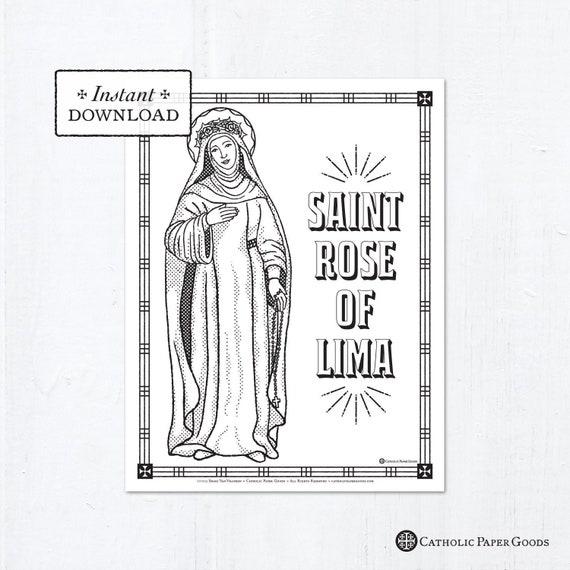 Catholic Coloring Page Saint Rose Of Lima Catholic Saints Etsy
