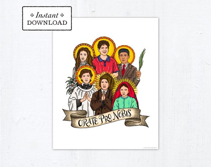 Young Saints Frameable Art Print Saint Poster, Instant Download, Downloadable PDF 8x10 Saint Squad Maria Goretti Carlo Acutis Dominic Savio