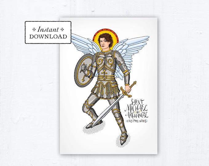 "St. Michael the Archangel Prayer Card, Art Print, Instant Download, DIY Downloadable PDF 5""x7"" Printable Saint Confirmation Gift"