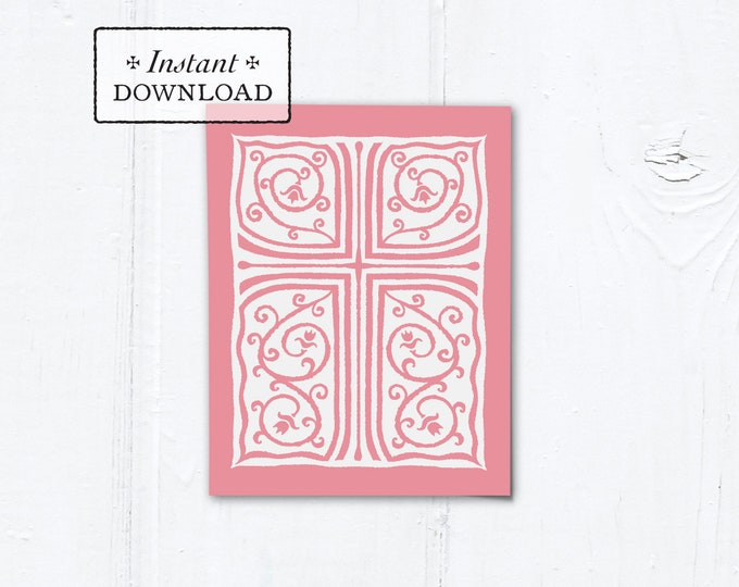 """Catholic Pink Cross Vines Multi-purpose Greeting Card Baptism Communion Confirmation Instant Download - DIY Downloadable PDF A2 4.25""""x5.5"""""""