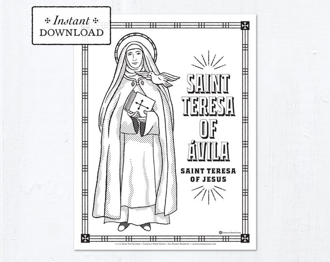 Catholic Coloring Page - Saint Teresa of Avila - Catholic Saints - Printable Coloring Page - Digital - PDF