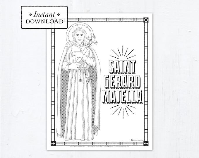 Catholic Coloring Page, Saint Gerard Majella Coloring Page, Catholic Saints, Printable Coloring Page, Digital Coloring Page, PDF