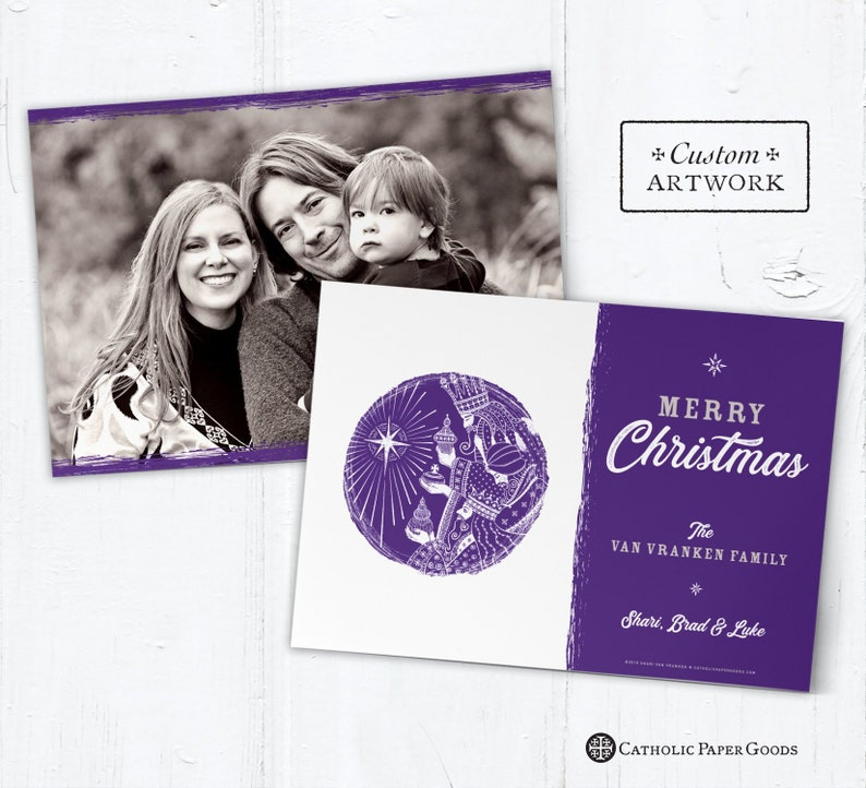 Catholic Christmas Photo Card Customizable Three Kings  DIY  image 0