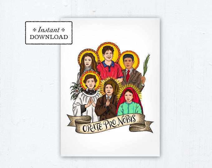Young Saints 5x7 Card Art Print, Instant Download, Downloadable PDF Saint Squad Maria Goretti Carlo Acutis Dominic Savio Jacinta Marto Jose