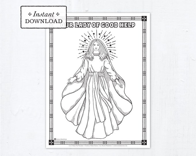 Catholic Coloring Page, Our Lady of Good Help, Catholic Marian Coloring Page, Printable Coloring Page, Digital Coloring Page, PDF