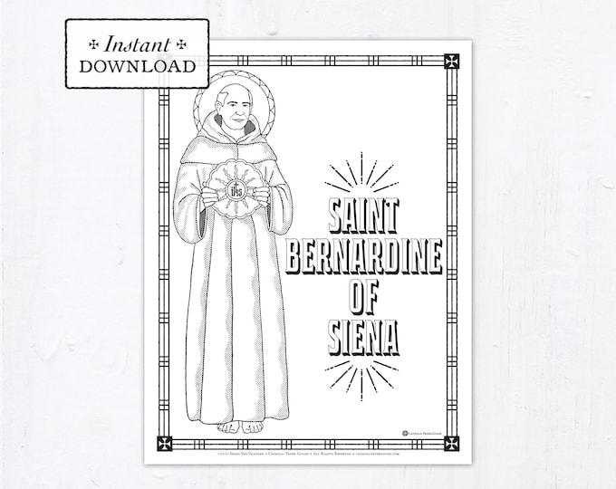 Catholic Coloring Page - Saint Bernardine of Siena - Catholic Saints - Printable Coloring Page - Digital - PDF