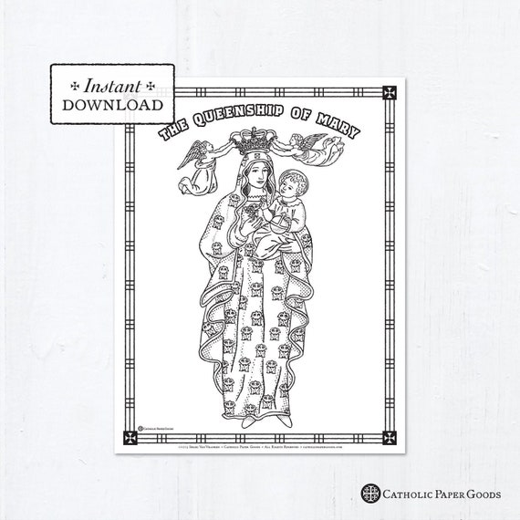 Catholic Coloring Page The Queenship Of Mary Catholic Etsy