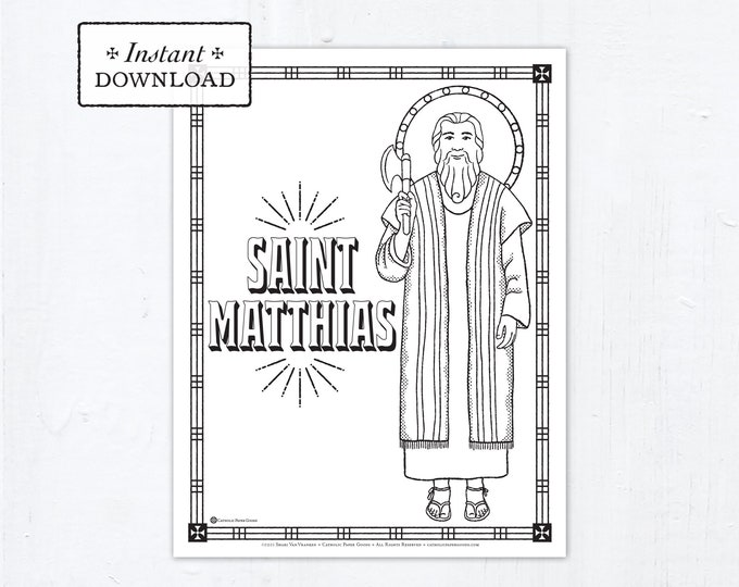 Catholic Coloring Page - Saint Matthias - Catholic Saints - Printable Coloring Page - Digital - PDF
