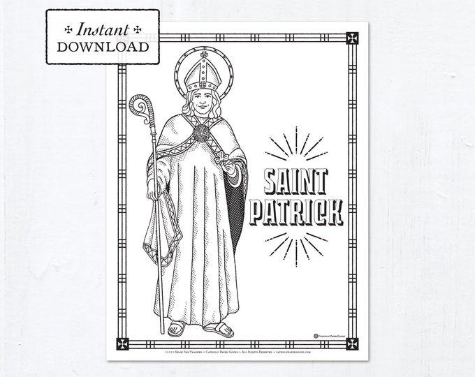 Catholic Coloring Page - Saint Patrick - Catholic Saints - Printable Coloring Page - Digital - PDF