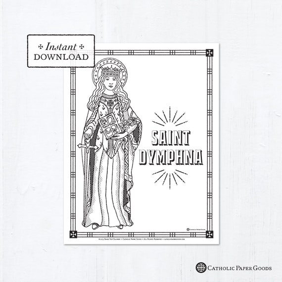 K is for St. Kateri Tekakwitha | Saints to Color | 570x570