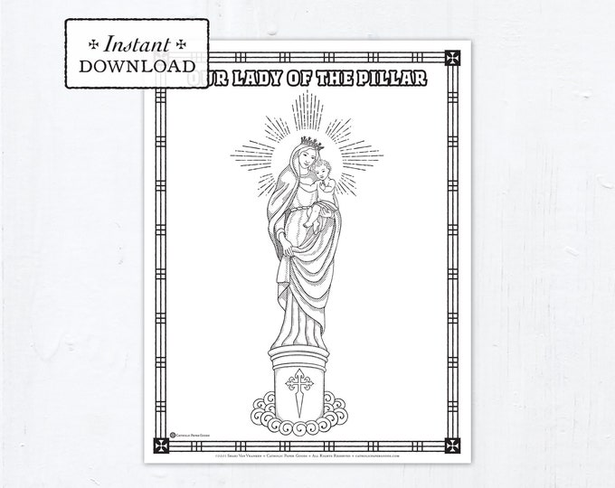 Catholic Coloring Page, Our Lady of the Pillar, Catholic Marian Coloring Page, Printable Coloring Page, Digital Coloring Page, PDF