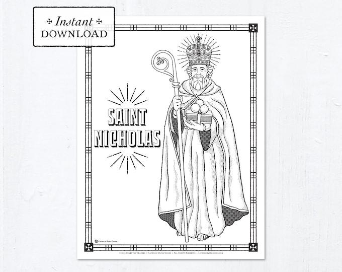 Catholic Coloring Page - Saint Nicholas - Catholic Saints - Printable Coloring Page - Digital - PDF