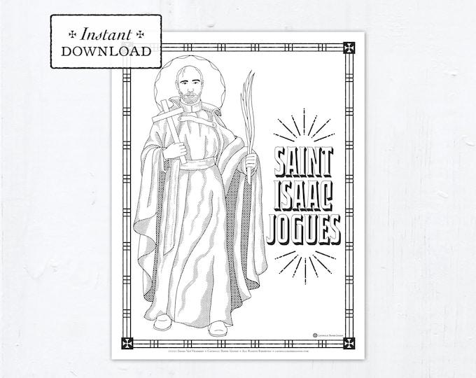 Catholic Coloring Page, Saint Isaac Jogues Coloring Page, Catholic Saints, Printable Coloring Page, Digital Coloring Page, PDF