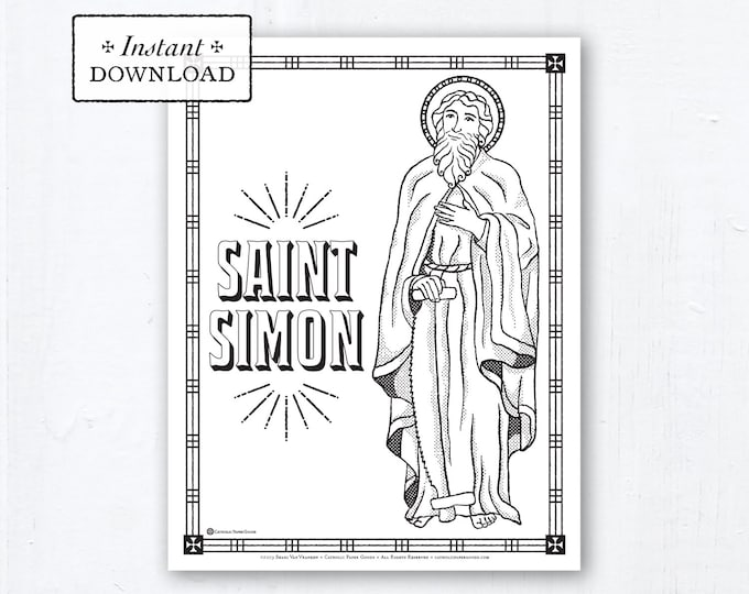 Catholic Coloring Page - Saint Simon - Catholic Saints - Printable Coloring Page - Digital - PDF