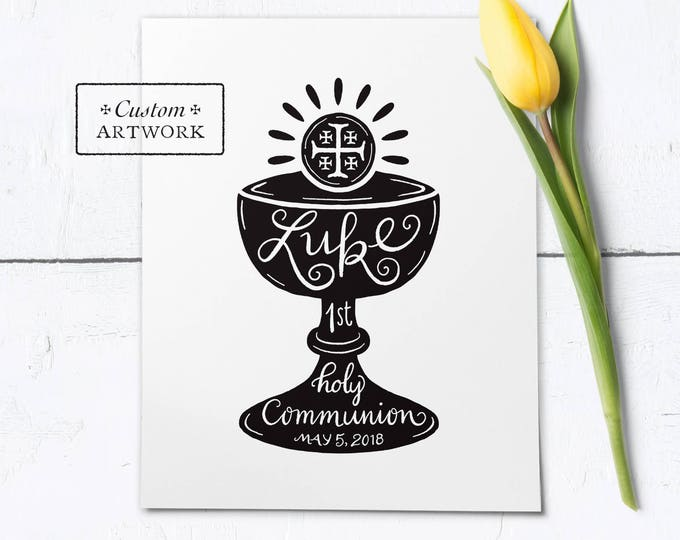"""Catholic First Communion Hand Lettered PERSONALIZED Black & White Frameable Art Print - Downloadable PDF 8""""x10"""""""