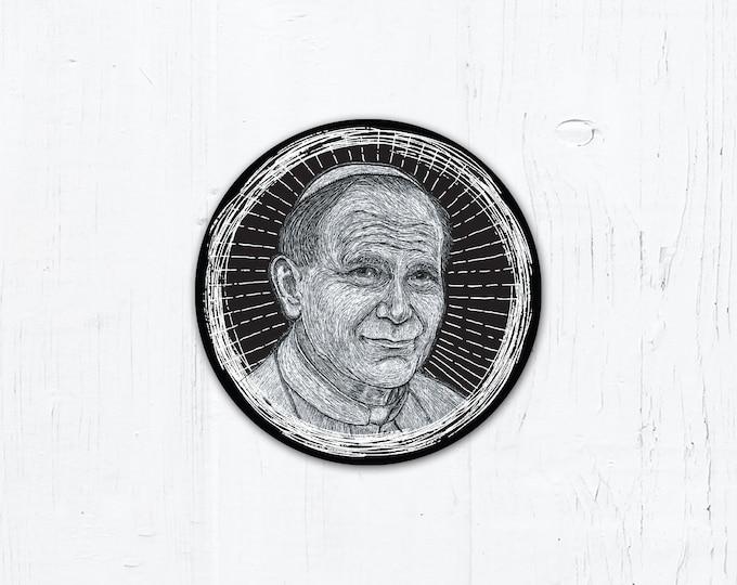 "Pope St. John Paul II Digital Woodcut - Catholic Vinyl Sticker 3"" x 3"" Peel & Stick - Weatherproof"